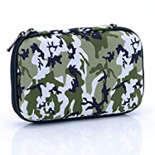 U-TIMES Hard Drive Case,Camouflage Rectangle EVA Shell Carrying Bag for Cell Phone,SSD,External Battery,iPod Touch,Game Pad,Charging Cable