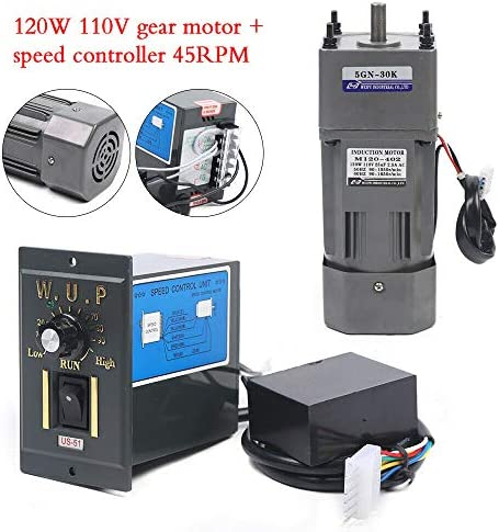 51F3OmlO1lL. AC 110V 120W Ac Gear Motor Electric Single-phase Motor Gear Motor 0-45RPM Electric Variable Speed Adjustable Controller Governor Geared Motor and Adjustable Speed Controller Combo (Reduction ratio:1:30)     This is a geared AC motor with a working voltage of AC 110V.Less noise, stronger.It's an electric motor, widely used in homes, handcrafts, school projects, model churning soda machines, low-speed machines, and any other product you want.Its stability is strong, the use is more assured, also has the governor, the use can be more convenient. The 120W deceleration motor can achieve super fast speed of 1350 RPM, thus ensuring high efficiency.And the motor has the characteristics of heat resistance, low noise, high quality and long service life.The motor has a compact body, lightweight structure, easy to carry and operate. The single-phase motor also has a reduction gear box and a governor, the speed regulator has a large torque, with a variety of optional speeds.Therefore, it is more convenient to use. You can adjust different speed according to different products to achieve the desired effect. It is very convenient and fast to use. Name: geared motor. Rated voltage: AC110 V. Rated speed: 45RPM/MIN. Reduction ratio: 1:30(30K). Power Phase: single-phase. 120W geared motor:6.5inch * 3.5inch *3inch. Reducer size: 2.5inch*3.5inch *3inch. Torque: at full speed 20nm. 120W gear motor Output speed: 45~0RPM. Product List:1 * Gear Motor, 1 * speed controller, 1 * Reducer. Our products are shipped directly from the US warehouse. We have strict quality control system, our products are put into the market after rigorous testing. We provide friendly customer services forever. If you have any questions or quality issue,please feel free to contact us.
