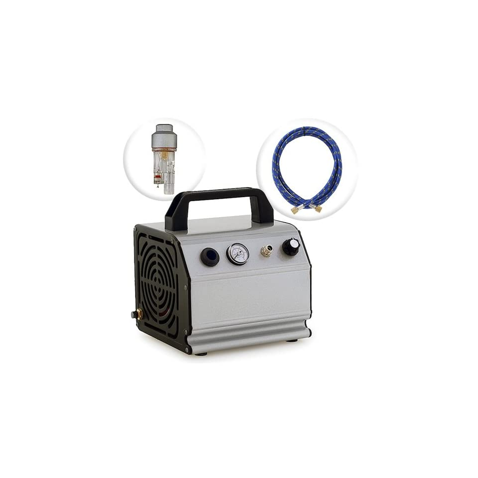 PointZero Low Noise Oil Less Airbrush Air Compressor with 6 ft. Hose 1/6 HP