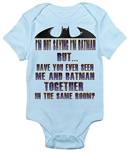 I'm Not Saying I'm Batman Funny Cute Super Hero Baby Bodysuit (0-3 Months, Light Blue)