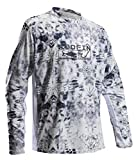 Performance Fishing Shirt Men UPF 50 UV Sun Protection Long Sleeve Quick Dry Mesh Cooling Rash Guard Kryptek Loose Fit Grey X-Large