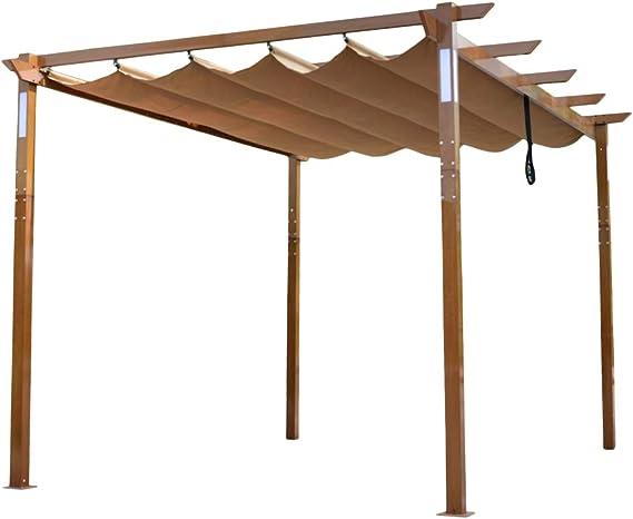 ALEKO PERG10X13LSD Pérgola de aluminio retráctil para exteriores con lámparas LED alimentadas por energía solar y acabado de madera – 13 x 10 pies – Arena: Amazon.es: Jardín
