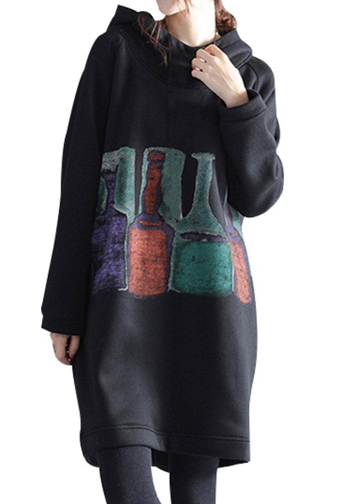 AiseBeau Korea Style Plus Velvet Thickened Long Hooded Hoodie Loose 1X Black