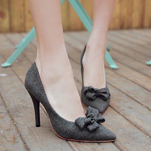 Mee Shoes Damen high heels spitz Nubukleder Pumps Grau