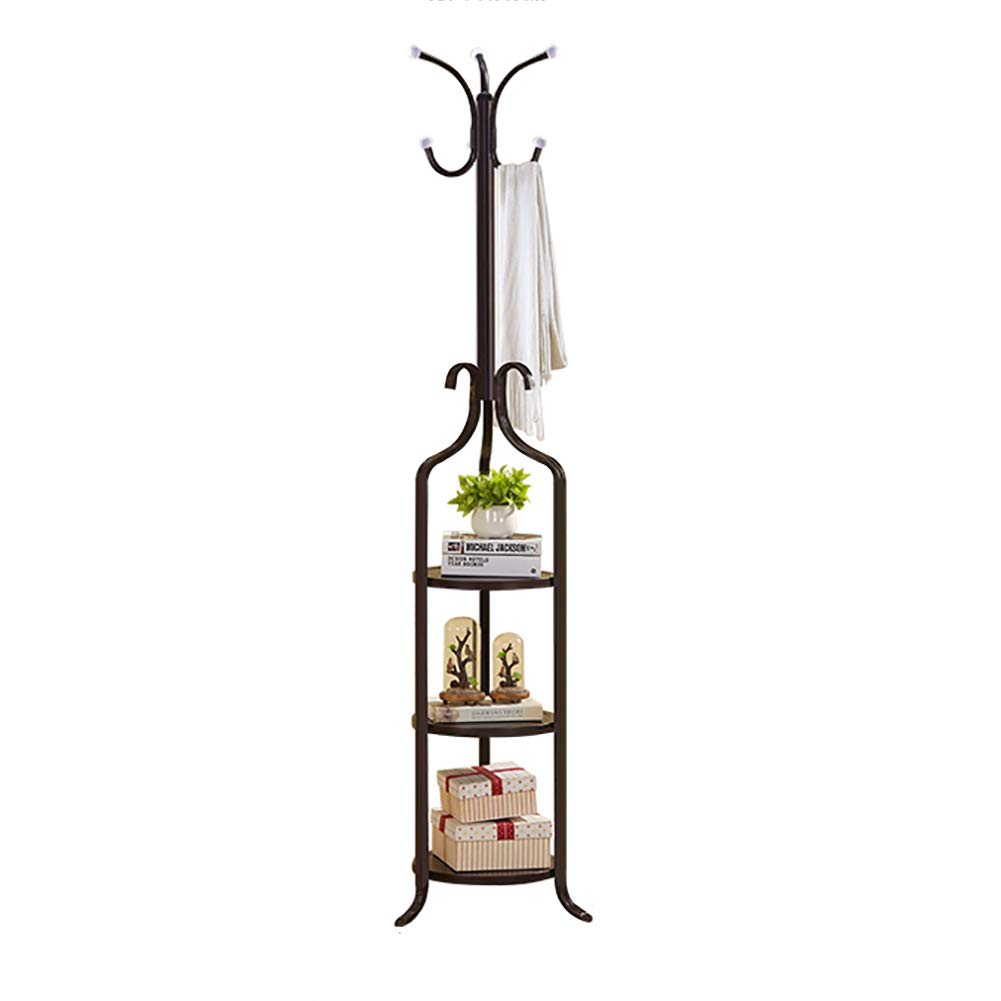 G 180x42cm(71x17inch) Multifunction Metal Coat Rack with Storage Shelves, Elegant Coat Stand, Coat hat Tree, Hanger Holder, Hall Home Rustproof-A 180x38cm(71x15inch)