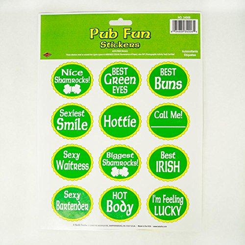 St Patrick Pub Fun Stickers Party Accessory (1 count) (1 Sh/Pkg) -