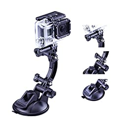 TELESIN Racing Game Strong Suction Cup Mount with 2 Extension Sticks for Gopro Hd Hero 4 Hero 3+ Hero3 Hero 2 Hd and Sj4000, Sj5000 Cameras
