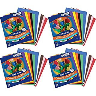 "Tru-Ray Pacon Construction Paper, 9"" x 12"", 10 Classic Colors, 50 Sheets (P103031), Pack of 4"