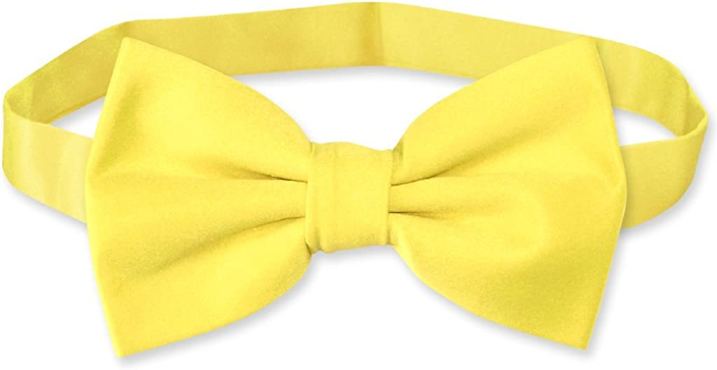 Vesuvio Napoli BOWTIE Solid GOLDEN YELLOW Color Mens Bow Tie for Tuxedo or Suit