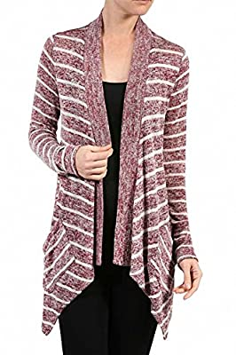 Sassy Apparel Women's Trendy Asymmetrical and Stripe Design Cardigan Sweater