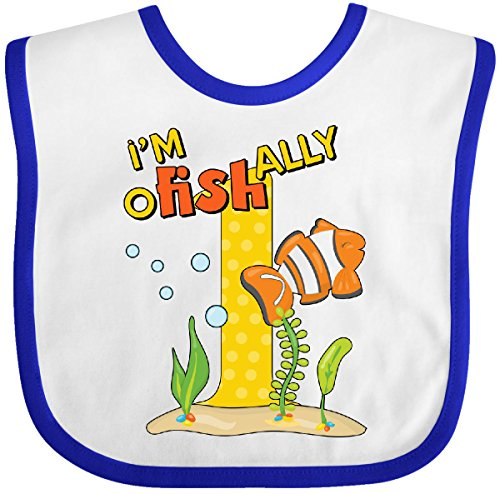 Inktastic - I'm O-Fish-Ally One cute clownfish first Baby Bib White/Royal