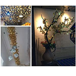 NICE PURCHASE 12pcs 6.5Feet Artificial Leaf Vine Wired Gold Leaf Garland Ivy Silk Greenery for Wedding Home Office Decoration (Grape Leaf) 5
