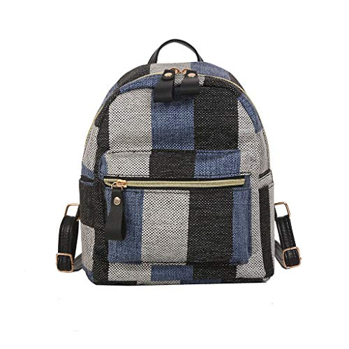 School Backpack for Teen Girls Student Lightweight Plaid Canvas Laptop Bag Casual Travel Shopping Shoulder Daypack (Blue)