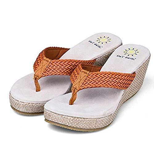 Shoes Summer Slipper Orange Women Gladiator Platform Fashion T JULY Thong Wedge Sandals Flop Flip Casual fTxqOv7