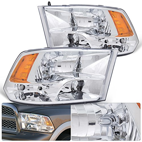 For Dodge Ram Quad 1500 2500 3500 4500 5500 Front Bumper Headlight Head Lamp Chrome Housing Clear Lens Amber Reflector Upgrade Assembly Pair Left Right