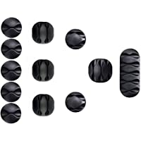 12 Pieces Cable Clips Black, Reayouth Ultra Strong Adhesive Desk Wire Management Cable Organizer Wire Holder…