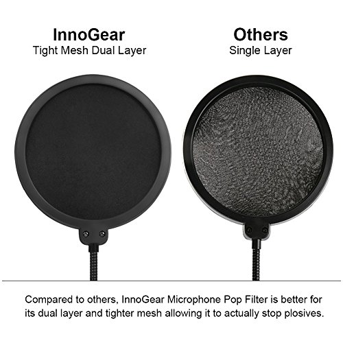 InnoGear Updated Microphone Pop Filter Dual Layer Mic Pop Shield with Clip Stabilizing Arm for Recording Vocals Home Studio Broadcasting - Image 3
