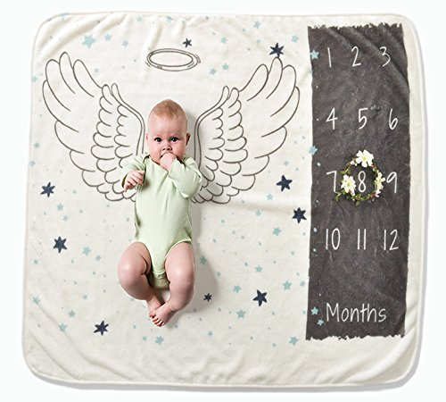 Zippersell Baby Monthly Milestone Blanket,Polar Fleece Newborn Photography Photo Prop(with Bonus Flower Frame),Baby Shower Gift Idea for 0-12 Months Growing Infants & Toddler (Wing)
