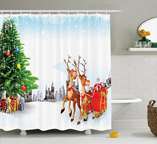 er Curtain, Snow Covered Christmas Village with Cartoon Santa on His Sleigh Big Tree and Boxes, Cloth Fabric Bathroom Decor Set with Hooks, 84 inches Extra Long, Multicolor ()