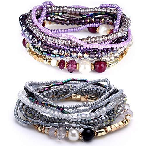 MengPa Beaded Stretch Bracelets for Women Girls Bohemian Colorful Multilayer Jewelry (Purple&Grey) 3207BC
