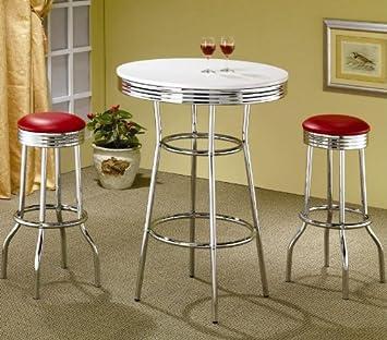 Captivating 3pcs Retro Style Red U0026 Chrome Bar Table U0026 2 Stools Set