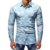 Clearance Sale! Ankola Man Fashion Button-Down Printing Blouse Casual Long Sleeve Slim Shirts Tops (M, Blue)