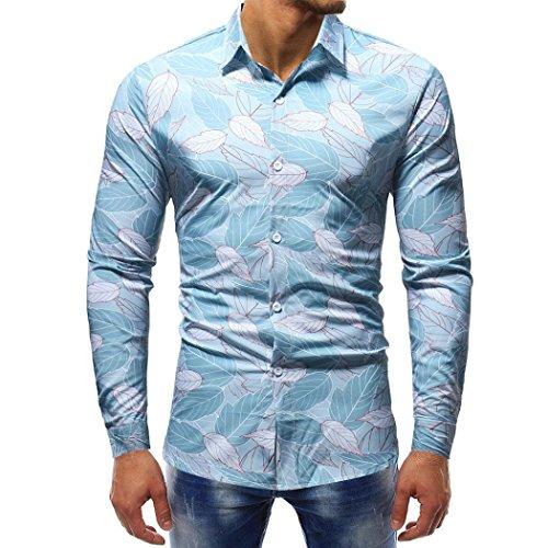 Clearance Sale! Ankola Man Fashion Button-Down Printing Blouse Casual Long Sleeve Slim Shirts Tops (M, Blue) by Ankola-Men's Blouse