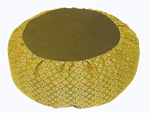 Meditation Cushion Zafu Pillow Buckwheat - Silk Brocade Lime
