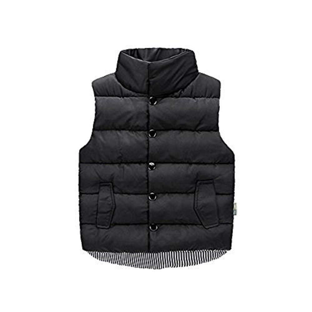 LSERVER Kids Boys Girls Winter Autumn Stand-up Collar Warm Artificial Cotton Vest Jacket Outwear Black 2-8T