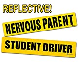 Zone Tech Reflective Vehicle Bumper Magnet - 2-Pack Premium Quality Reflective Nervous Parent + Student Driver Effective Bumper Decal Neon Yellow