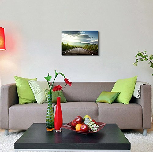 Beautiful Scenery Landscape Mountain Road Highway in the Morning Sunray Wall Decor