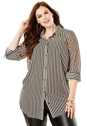 Roamans Women's Plus Size Georgette Tunic - Sandy Beige Stripe, 18 W