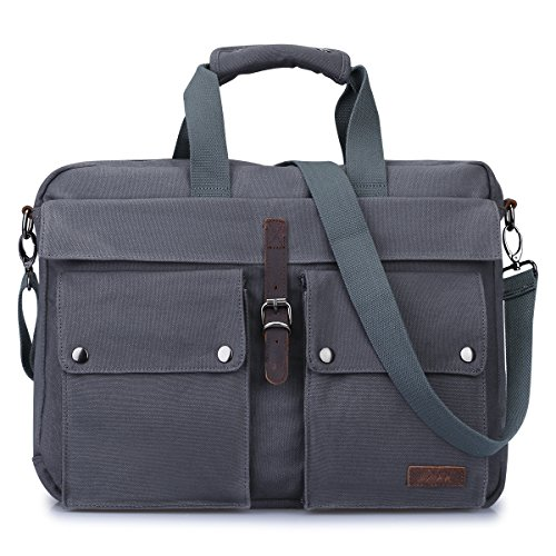 S-ZONE Canvas 17-Inch Laptop Messenger Bag Multicompartment Travel Shoulder Bag Briefcase (Gray)