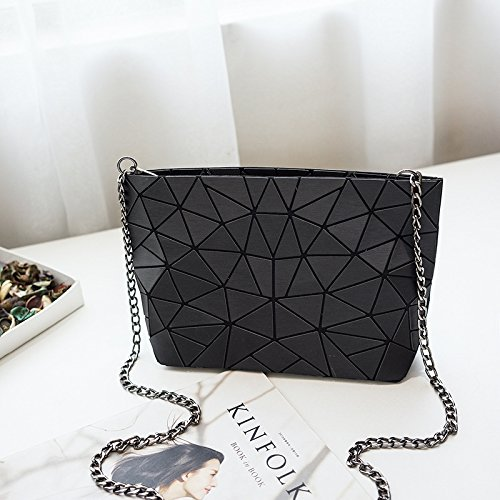 Light Guangming77 Diagonal Matte Bag Shoulder Bag Chain Geometric Matte Bag White Diagonal Black Irregular Chain Cross 6rYErw