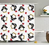 Sea Animals Decor Shower Curtain Set By Ambesonne, Penguins With Heart Shapes Lovely Sweet Romantic Valentines Day, Bathroom Accessories, 69W X 70L Inches