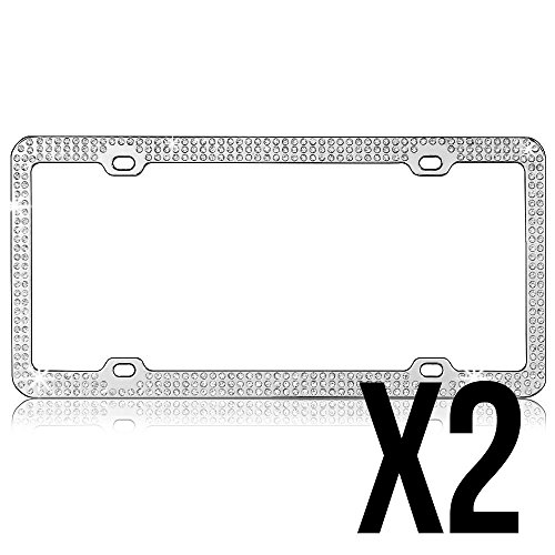 Plate Rhinestone - Bling Bling (2-Pack) Triple Rows Diamond Crystals Rhinestones Inlaid License Plate Frame (Clear)