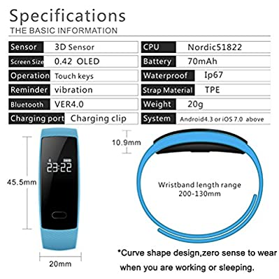 Villsion Fitness Tracker Watch With Bluetooth Blood Pressure Heart Rate Monitor Wristband, IP67 Waterproof Pedometer Smart Watch for iPhone Android