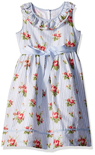 Laura Ashley London Little Girls' Ruffle Collar Party Dress, Light Blue, 2T