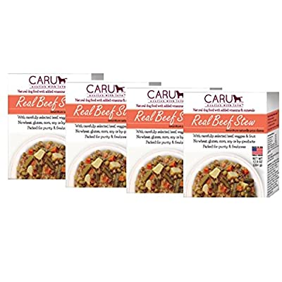 Caru - Real Beef Stews for Dogs, Natural Adult Wet Dog Food with Added Vitamins and Minerals, Free from Grain, Wheat and Gluen (12.5 Ounce, Pack of 4)