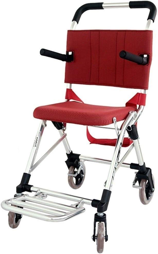 GSS-Rollstühle Silla de Ruedas de Aluminio,Aluminio Ruedas Tránsito Viaje, Ligero y Marco Plegable, Anchura del Asiento 13.6 Pulgadas, Rojo, Apto for Mayores Y Personas con Discapacidad