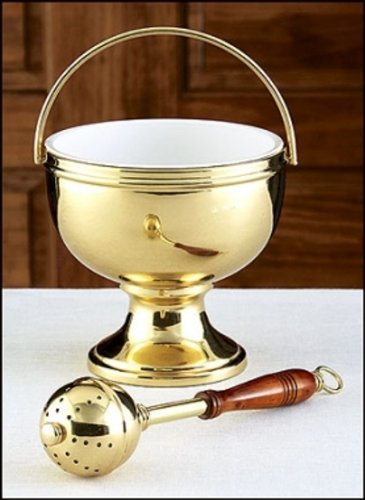 (Gold Holy Water Pot With Sprinkler Set)