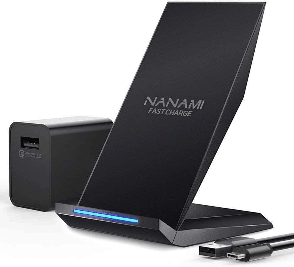 NANAMI Cargador Inalámbrico Rápido,Qi Wireless Charger (con Adaptador QC 3.0) para iPhone 11/11 Pro/11 Pro MAX/XS MAX/XR/XS/X/8+/8, 10W Carga Rápida para Galaxy S20/S10/S10E/S9/S9 /S8/S7/Note 10/9/8