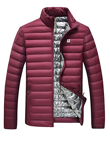Red weight Wine Short Slim Puffer Down Men's Jacket Fit Yeokou Quilted Coat qTPSPw