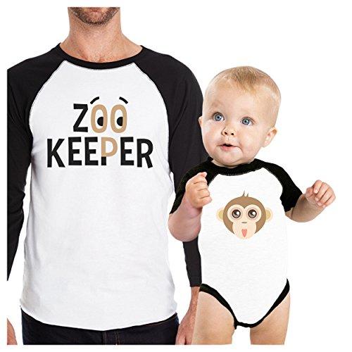 (365 Printing Zoo Keeper Monkey Dad Baby Matching Raglan Shirts)