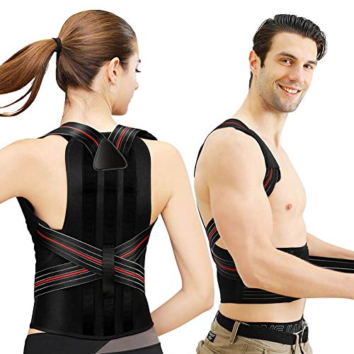 AOCHUANG Posture Corrector Back Brace for Men Women, Adjustable Back Lumbar Support for Lower and Upper Back Pain(23-30 Inch)