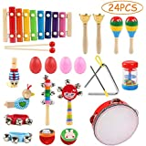 LEADSTAR Musical Instrument Toys, 24 Pcs 13 Types Wooden Musical Toys Wooden Percussion Instrument Tambourine Xylophone Toys for Kids, Preschool Educational Learning Musical Toys for Boys Girls with Cute Storage Bag