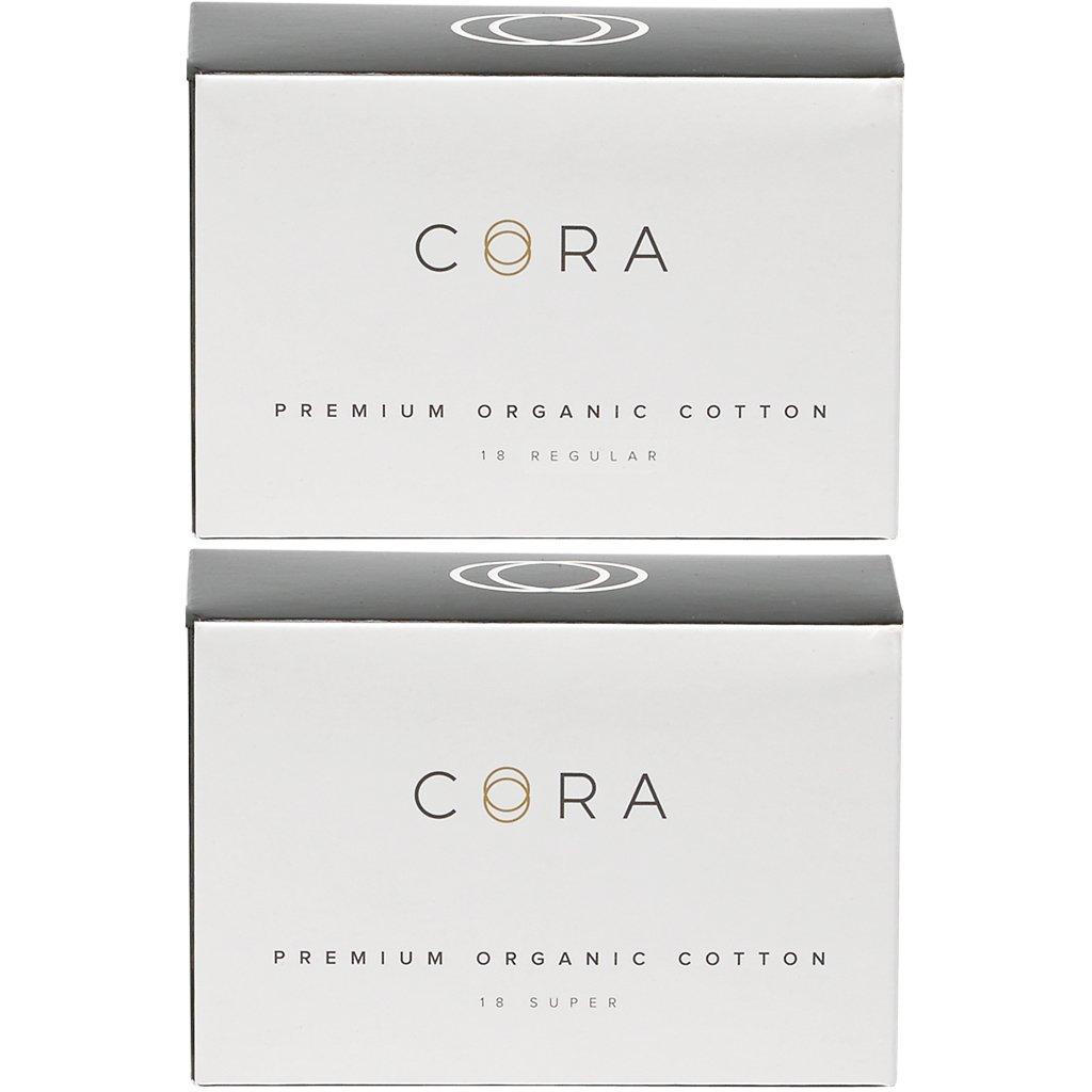Cora Variety Pack - Regular/Super - Organic Cotton Non-APPLICATOR Tampons (36 Count; 18 Regular & 18 Super)