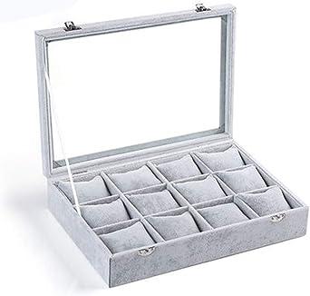 Caja De Reloj 12 Compartimentos Vitrina De Cristal Organizador De ...
