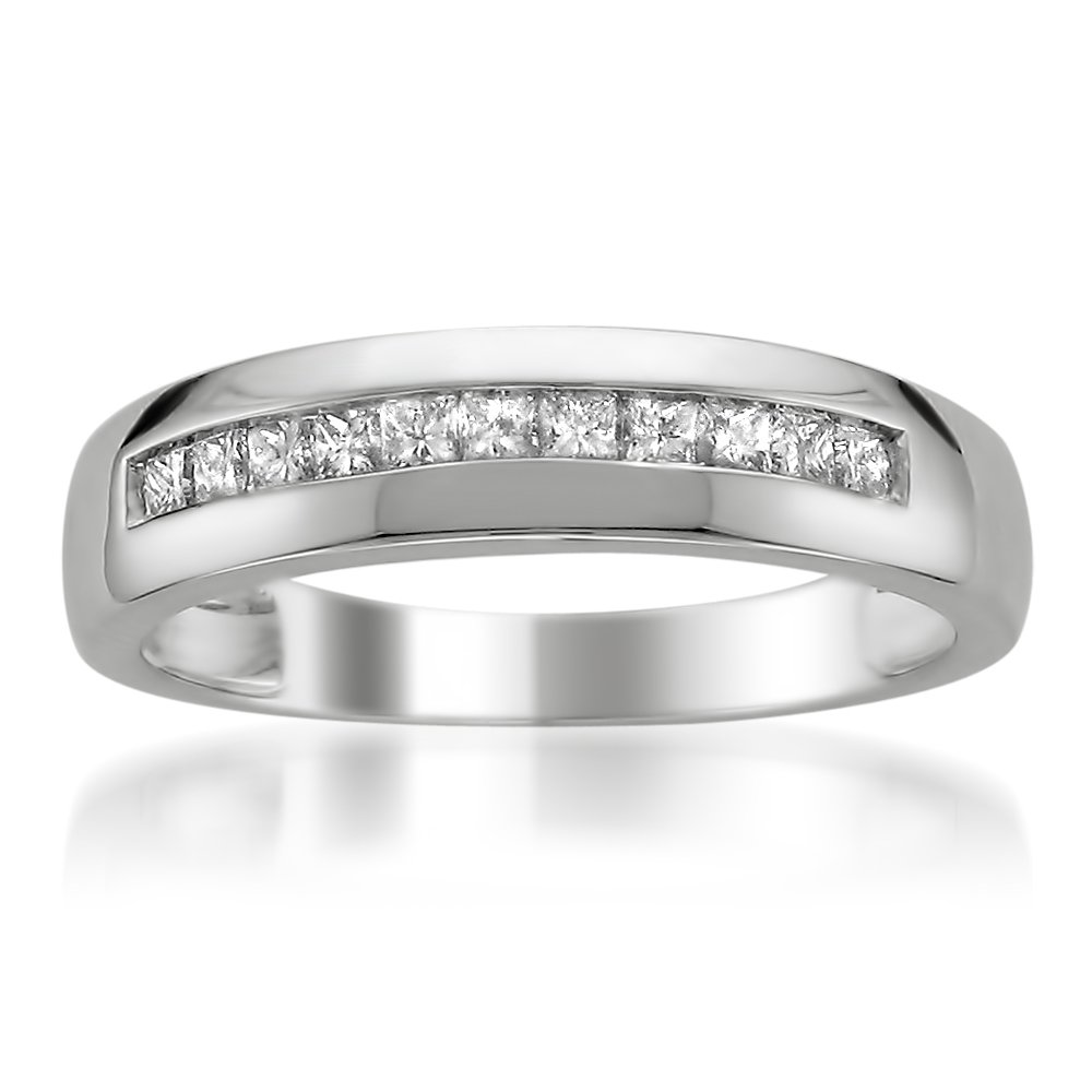 Platinum Princess-cut Diamond Men's Wedding Band Ring (1/2 cttw, H-I, SI2-I1), Size 8
