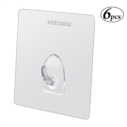 Wall Hooks DEKINMAX Adhesive & Suction Hooks for Shower Room Kitchen Bathroom Hooks (Heavy Duty, Clear, Pack Of 6) durable service